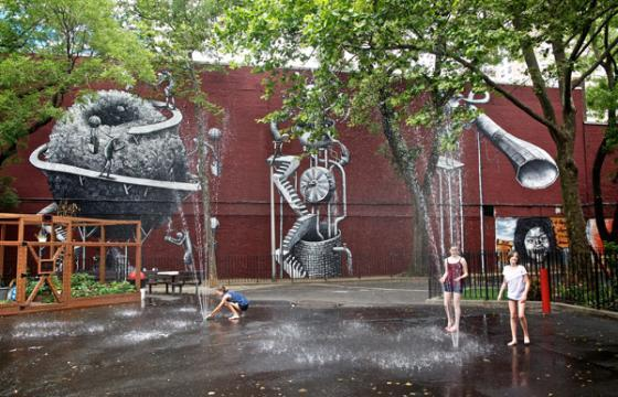 West Side New York Mural by Phlegm