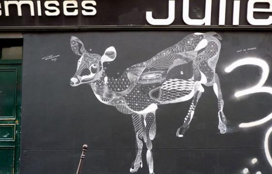 Deer drawing with chalk by Philippe Baudelocque
