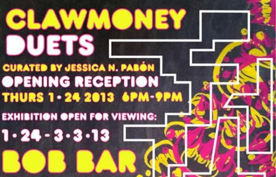 """Duets"" an exhibition of collaborative works by CLAWMONEY"