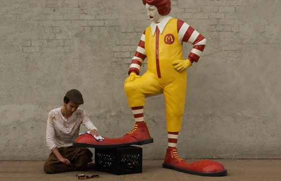 Ronald McDonald gets a Shoeshine from Banksy