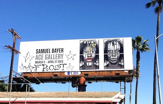 Samuel Bayer's billboard altered by Phil Frost stolen