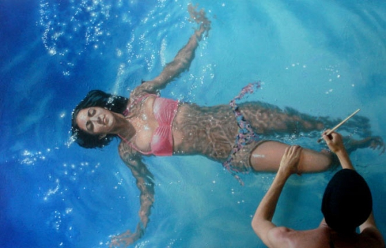 Painting People That Are Underwater: Photoreal works by Gustavo Silva Nuñez
