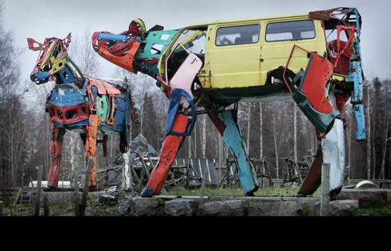 Cows Made Of Recycled Car Parts