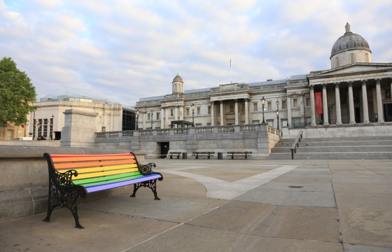 Paul Insect Places Rainbow Benches Around Empty Central London