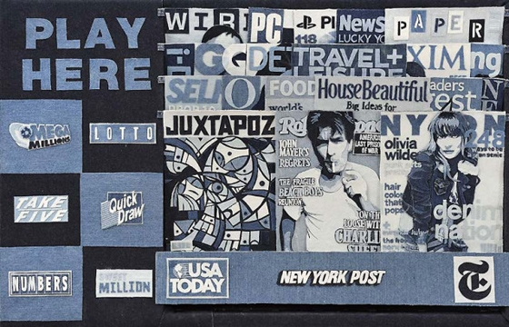 Life-Sized Newsstand Made from Denim by Denimu