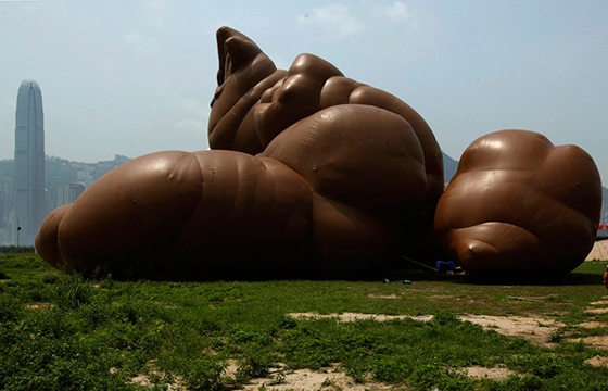 Six large inflatable sculptures currently on display at M+Museum in Hong Kong