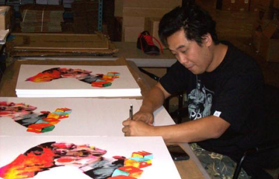 Signing Prints with David Choe in SF