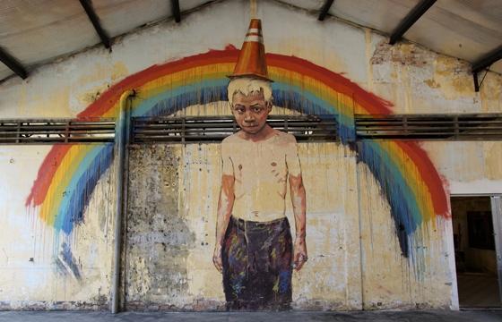 "Ernest Zacharevic ""Art is Rubbish/Rubbish is Art"" @ Hin Company Bus Depot, Penang, Malaysia"