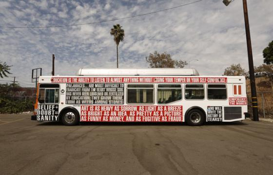"Barbara Kruger buses in Los Angeles for ""Art Matters"""
