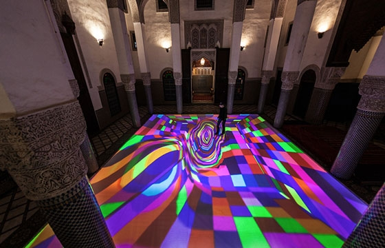 "Miguel Chevalier's Interactive Installation ""Digital Arabesque"""