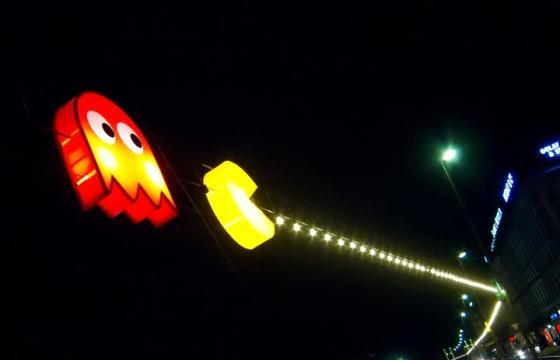 Pac Man Light Installation by Benedetto Bufalino and Benoit Deseille