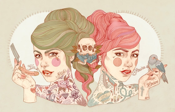Tattooed Portrait Illustrations from Liz Clements