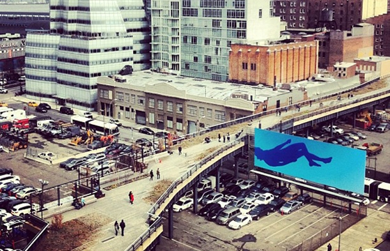 "Ryan Mcginley's ""Blue Falling"" ON THE HIGH LINE BILLBOARD, NYC"