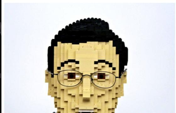 Stephen Colbert from Legos, and other Lego Sculptures by Nathan Sawaya