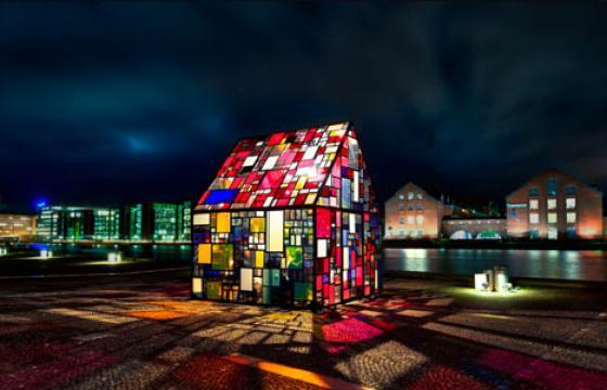 The Stained-Glass Art House by Tom Fruin