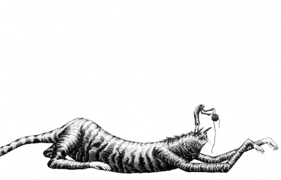 Cat and string illustration by Phlegm