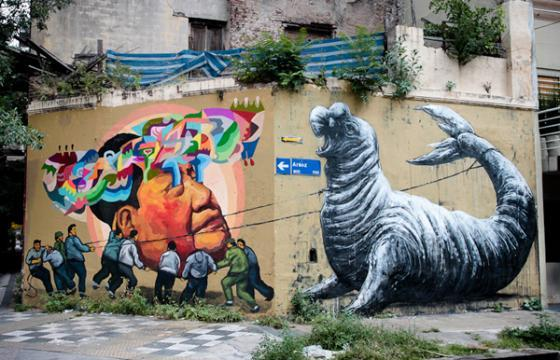 Roa and Ever mural in Buenos Aires, Argentina