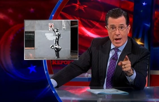 Stephen Colbert attempts to provoke Banksy and instead gets Hanksy