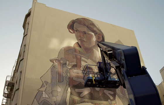 Aryz Working on a New Mural in San Francisco's Tenderloin
