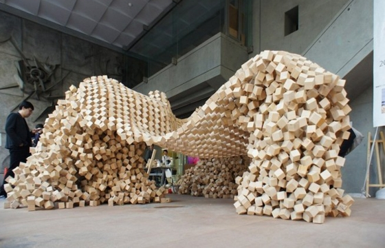 Ken Yokogawa's 7000 Wooden Cube Structure is Held Together by Hooks