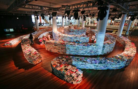 "Marcos Saboya and Gualter Pupo's ""Book Maze"" @ Southbank Centre, London"