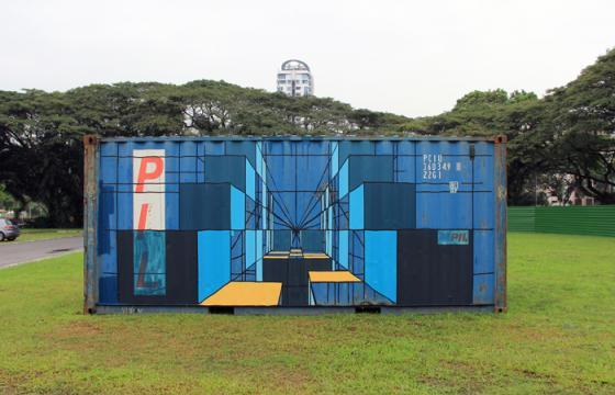 Mary Iverson Paints Container in Singapore