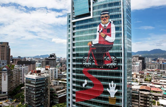 Agostino Iacurci decorates 22-Story high building in Taipei, Taiwan