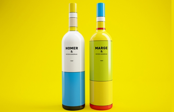 Mondrian and Homer Simpson Inspired Wine Bottles