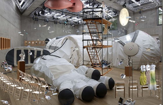 Larger Than Life Space Suit Houses Fashion Show