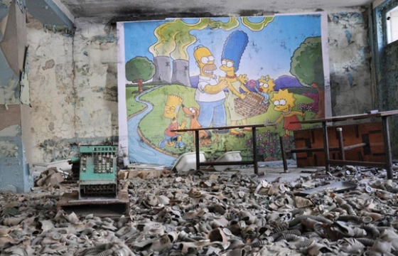 The Simpsons Mural in Chernobyl