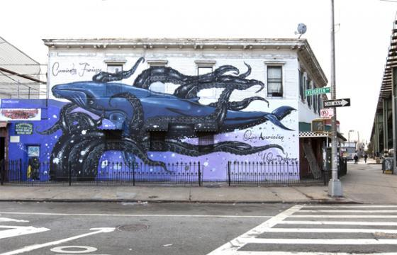 Octopus arms surround whale in new mural by Federico Massa