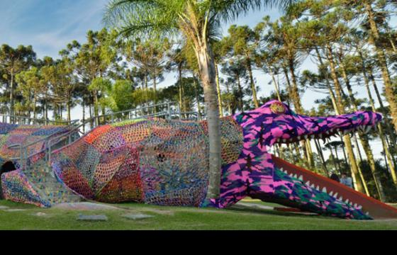 Olek's Crocheted Gator in Sao Paulo
