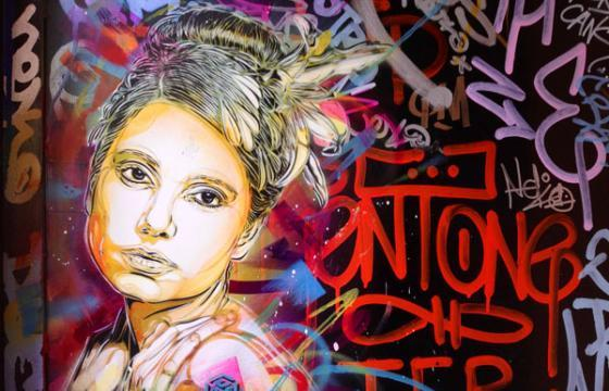 Women's stencil Portrait by C215