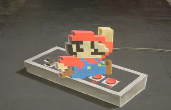 Super Mario 3D Chalk Art and Video