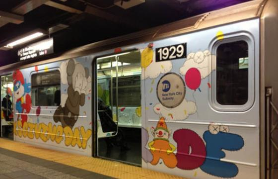 New York Mta Subways cars get wallpapered by Kaws