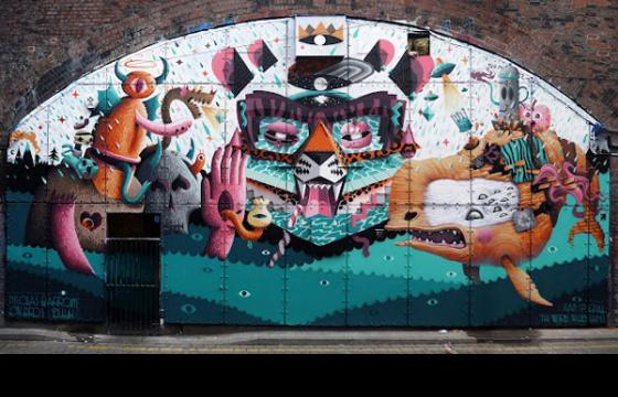 Dulk, Low Bros and Nicolas Barrome collaboration wall in Manchester