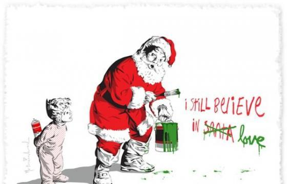 Mr Brainwash makes a holiday print for the kids