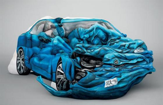 A Car Crash Painted Body Sculpture