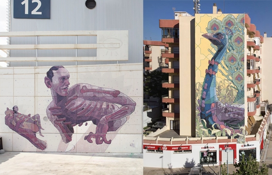 Aryz paints two new walls in Spain