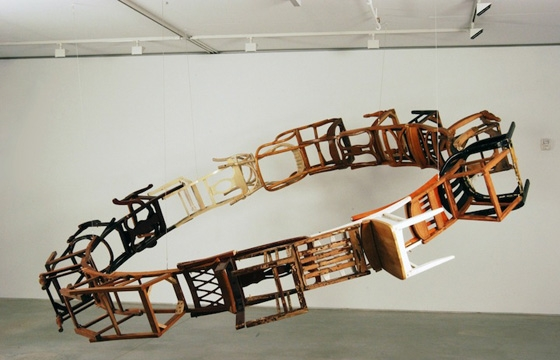 Suspended Loop of Chairs by Marc Andre Robinson