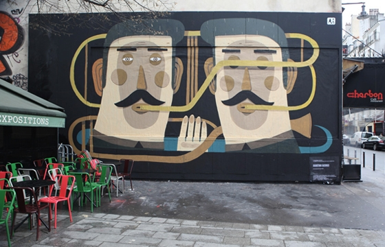 Agostino Lacurci paints Le Mur wall in Paris
