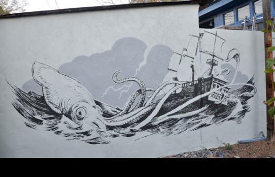 Pirate Ship Being Attacked by Giant Squid