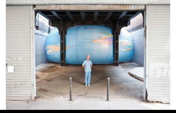 David Byrne Giant Globe Squashed Under High Line in NYC