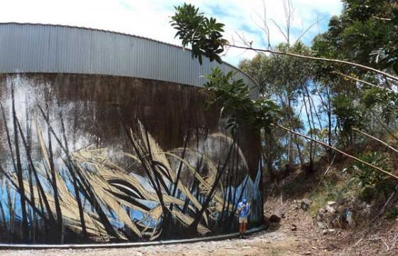 Shida Paints water tower in Gold Coast, Australia