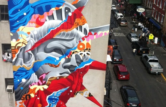 """Liberty"" by Tristan Eaton in Little Italy, New York"