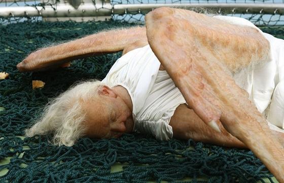 A Hyperreal Fallen Angel Sculpture