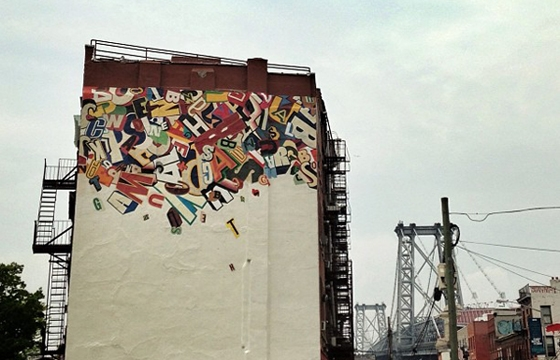 SP ONE's Artwork recreated as a mural in Brooklyn