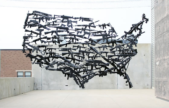 Suspended USA Made From 130 Toy Guns