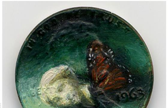 Oil Painting on Pennies by Jacqueline Lou Skaggs