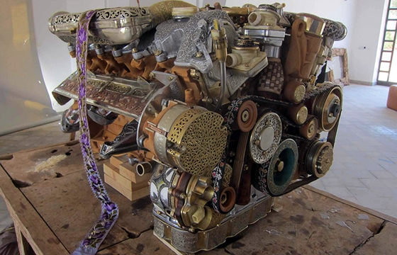 Mercedes Engine Reconstructed from 53 different hand-forged Materials